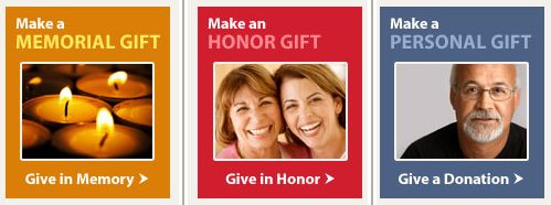 These sample donation buttons are from the American Diabetes Association website.
